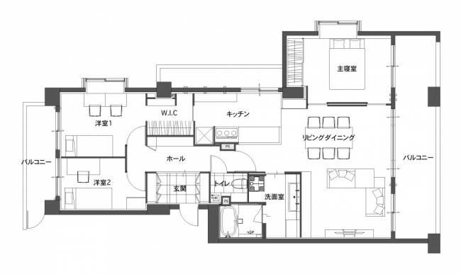 ■半オープン型キッチン